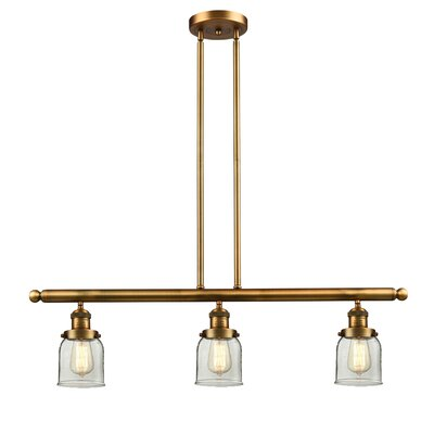 Small Bell 3-Light Kitchen Island Pendant Finish: Brushed Brass, Shade Color: Clear