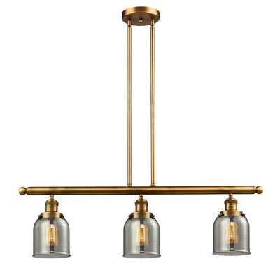Glass Bell 3-Light Island Pendant Shade Color: Smoked, Finish: Brushed Brass