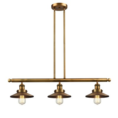 Railroad 3-Light Kitchen Island Pendant Finish: Brushed Brass