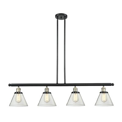 Glass Cone 4-Light Kitchen Island Pendant Size: 48 W x 8 D, Shade Color: Clear, Finish: Black/Brushed Brass