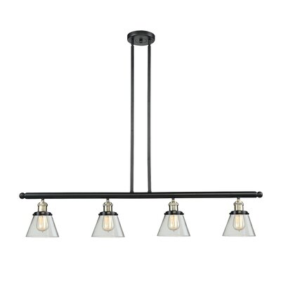 Glass Cone 4-Light Kitchen Island Pendant Finish: Black Brushed Brass, Shade Color: Matte White Cased, Size: 48 W x 8 D