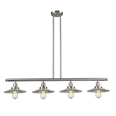 Holophane Glass 4-Light Kitchen Island Pendant Finish: Satin Nickel