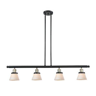 Glass Cone 4-Light Kitchen Island Pendant Shade Color: Smoked, Size: 48 W x 5 D, Finish: Black/Brushed Brass