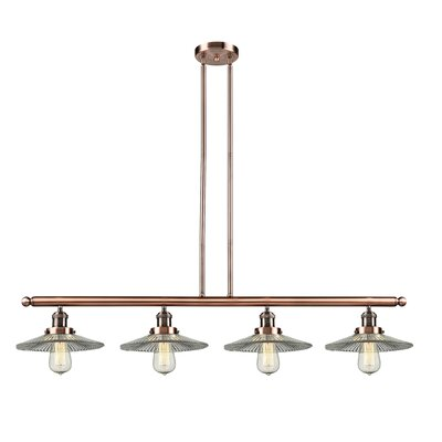 Holophane Glass 4-Light Kitchen Island Pendant Finish: Antique Copper