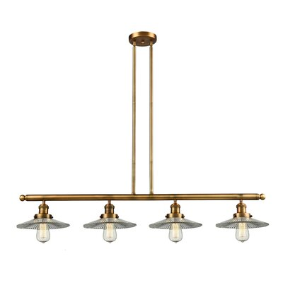 Halophane 4-Light Kitchen Island Pendant Finish: Brushed Brass