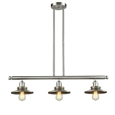 Railroad Shade 3-Light Kitchen Island Pendant Finish: Satin Nickel