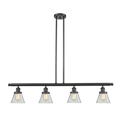 Glass Cone 4-Light Kitchen Island Pendant Finish: Oiled Rubbed Bronze, Shade Color: Smoked, Size: 48 W x 8 D