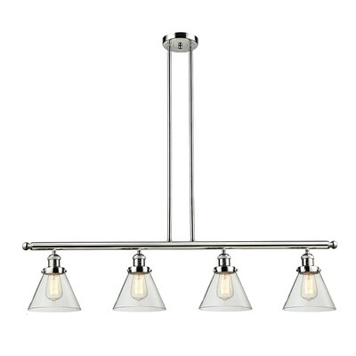 Glass Cone 4-Light Kitchen Island Pendant Finish: Polished Nickel, Shade Color: Smoked, Size: 48 W x 8 D