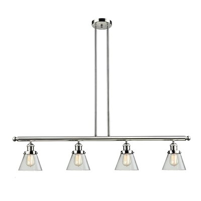 Glass Cone 4-Light Kitchen Island Pendant Shade Color: Clear, Finish: Polished Nickel, Size: 48