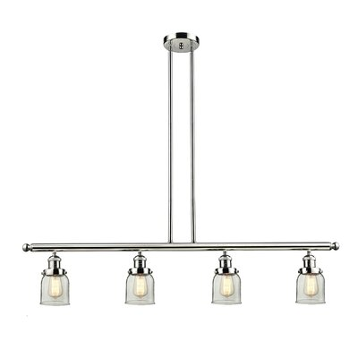 Glass Bell 4-Light Kitchen Island Pendant Size: 48 W x 5 D, Shade Color: Clear, Finish: Polished Nickel