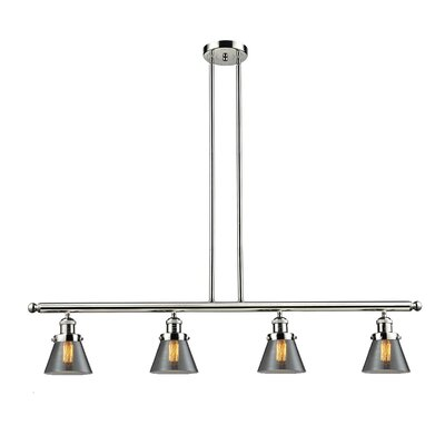 Glass Cone 4-Light Kitchen Island Pendant Shade Color: Smoked, Finish: Polished Nickel, Size: 48