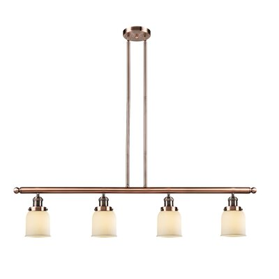Glass Bell 4-Light Kitchen Island Pendant Finish: Antique Copper, Shade Color: Matte White Cased, Size: 48 W x 5 D