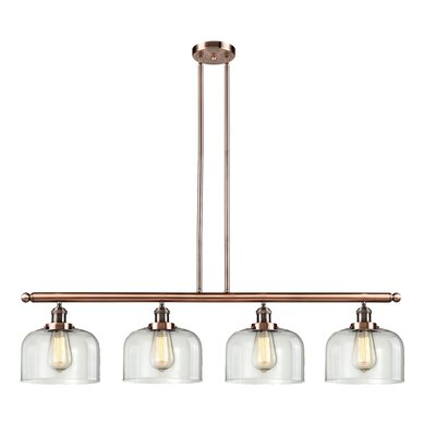 Glass Bell 4-Light Kitchen Island Pendant Finish: Antique Copper, Shade Color: Clear, Size: 48 W x 8 D