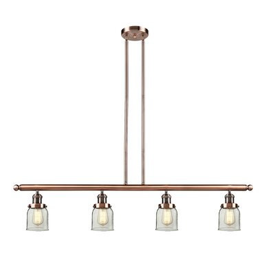 Glass Bell 4-Light Kitchen Island Pendant Finish: Antique Copper, Size: 48 W x 5 D, Shade Color: Clear