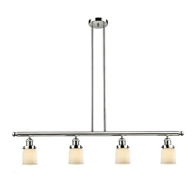 Glass Bell 4-Light Kitchen Island Pendant Finish: Polished Nickel, Shade Color: Matte White Cased, Size: 48 W x 5 D