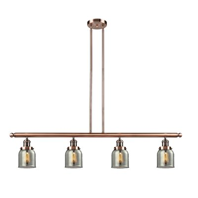 Glass Bell 4-Light Kitchen Island Pendant Finish: Antique Copper, Shade Color: Smoked, Size: 48 W x 5 D