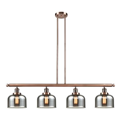 Glass Bell 4-Light Kitchen Island Pendant Finish: Antique Copper, Shade Color: Smoked, Size: 48 W x 8 D