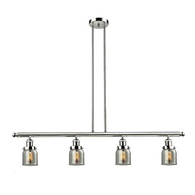 Glass Bell 4-Light Kitchen Island Pendant Size: 48 W x 5 D, Shade Color: Smoked, Finish: Polished Nickel