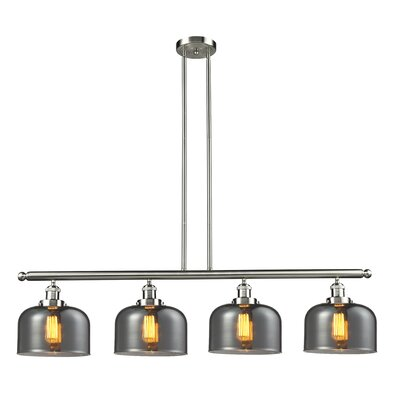Glass Bell 4-Light Kitchen Island Pendant Finish: Brushed Satin Nickel, Shade Color: Smoked, Size: 48 W x 8 D