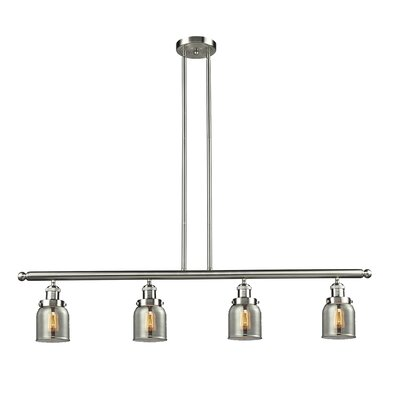 Glass Bell 4-Light Kitchen Island Pendant Size: 48 W x 5 D, Shade Color: Smoked, Finish: Satin Nickel