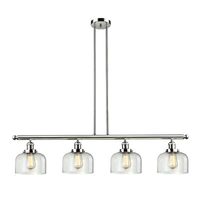 Glass Bell 4-Light Kitchen Island Pendant Finish: Polished Nickel, Shade Color: Clear, Size: 48 W x 8 D