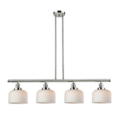 Glass Bell 4-Light Kitchen Island Pendant Finish: Polished Nickel, Shade Color: Matte White Cased, Size: 48 W x 8 D