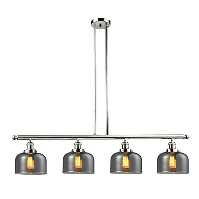 Glass Bell 4-Light Kitchen Island Pendant Finish: Polished Nickel, Shade Color: Smoked, Size: 48 W x 8 D