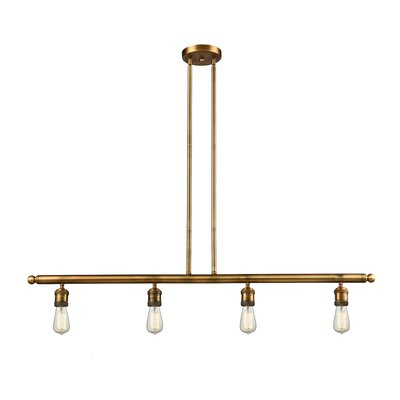 Bare Bulb 4-Light Kitchen Island Pendant Finish: Brushed Brass