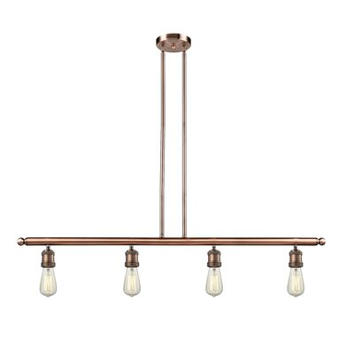Bare Bulb 4-Light Kitchen Island Pendant Finish: Antique Copper