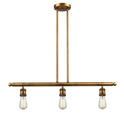 Bare Bulb 3-Light Kitchen Island Pendant Finish: Brushed Brass