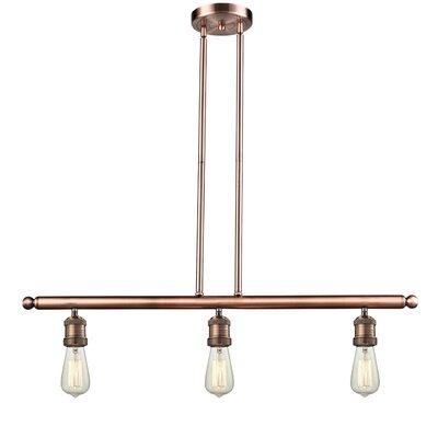 Bare Bulb 3-Light Kitchen Island Pendant Finish: Antique Copper