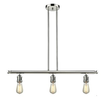 Bare Bulb 3-Light Kitchen Island Pendant Finish: Polished Nickel