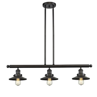 Railroad Shade 3-Light Kitchen Island Pendant Finish: Oiled Rubbed Bronze