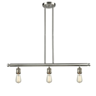 Bare Bulb 3-Light Kitchen Island Pendant Finish: Brushed Satin Nickel