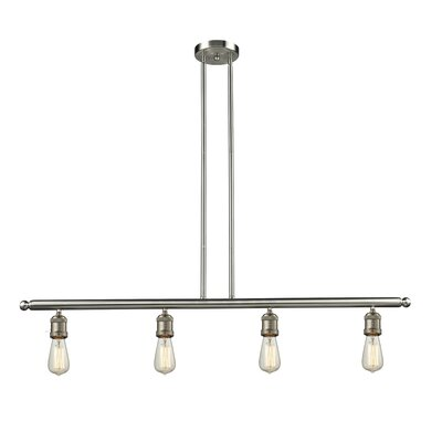 Bare Bulb 4-Light Kitchen Island Pendant Finish: Satin Nickel