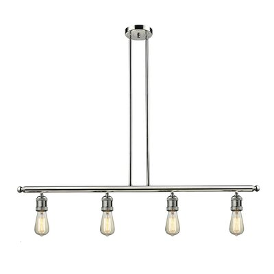Bare Bulb 4-Light Kitchen Island Pendant Finish: Polished Nickel