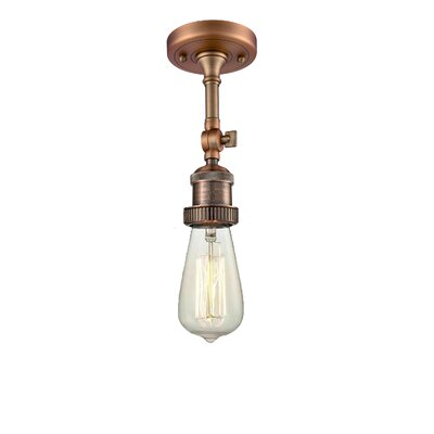 Bare Bulb 1-Light Semi Flush Mount Finish: Antique Copper