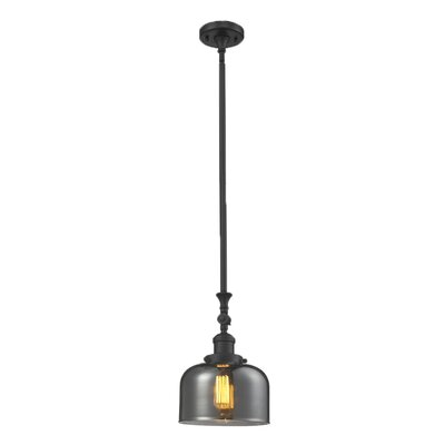 Glass Bell 1-Light Stem Pendant Shade Color: Smoked, Finish: Oiled Rubbed Bronze