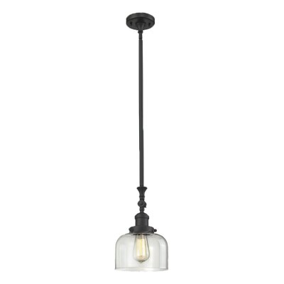 Glass Bell 1-Light Stem Pendant Shade Color: Clear, Finish: Oiled Rubbed Bronze