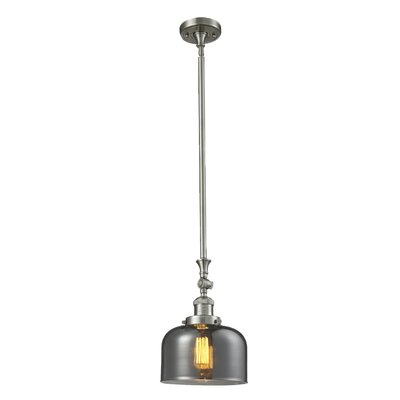 Glass Bell 1-Light Stem Pendant Shade Color: Smoked, Finish: Satin Nickel