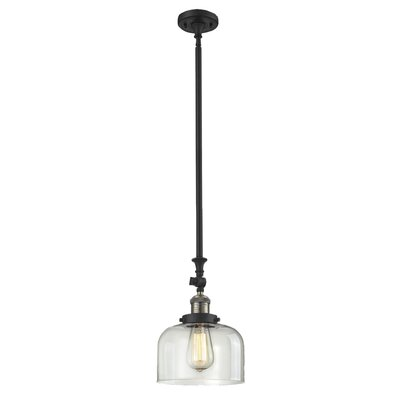 Glass Bell 1-Light Stem Pendant Finish: Black/Brushed Brass, Shade Color: Clear