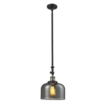 Glass Bell 1-Light Stem Pendant Finish: Black/Brushed Brass, Shade Color: Smoked