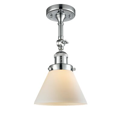 Glass Cone Semi-Flush Shade Color: Polished Chrome, Size: 12 H x 8 W
