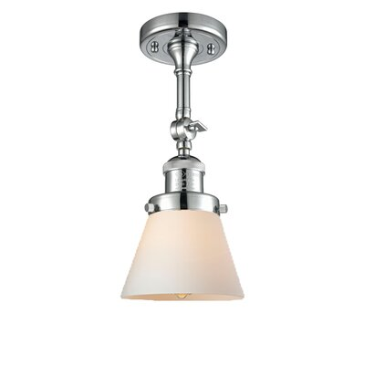 Glass Cone Semi-Flush Shade Color: Matte White, Size: 11 H x 6.25 W