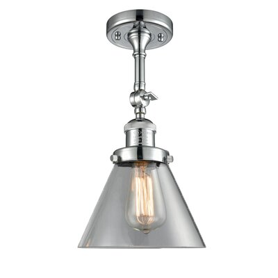 Glass Cone Semi-Flush Shade Color: Clear, Size: 12 H x 8 W