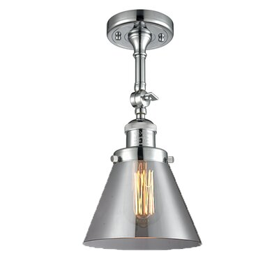Glass Cone Semi-Flush Shade Color: Smoked, Size: 12 H x 8 W