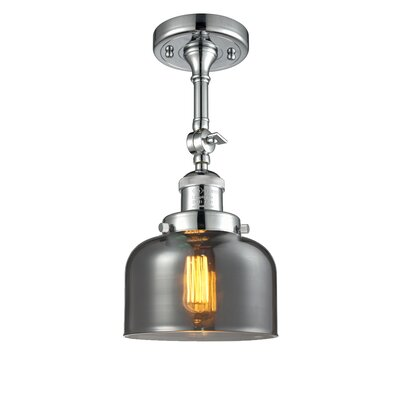 Glass Bell Semi-Flush Shade Color: Smoked, Size: 11 H x 8 W