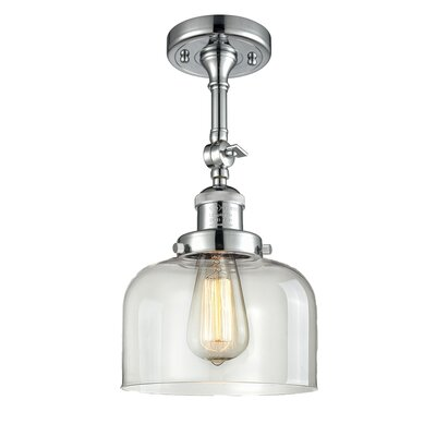 Glass Bell Semi-Flush Shade Color: Clear, Size: 11 H x 8 W
