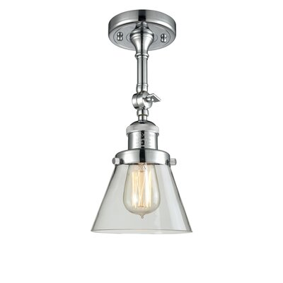 Glass Cone Semi-Flush Size: 11 H x 6.25 W, Shade Color: Clear