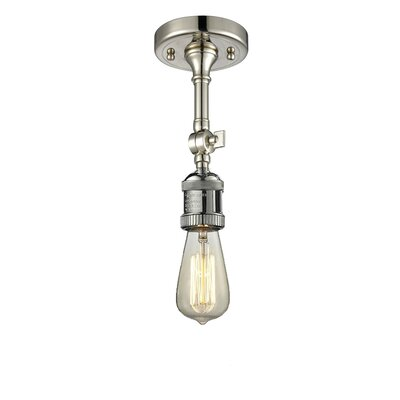 Bare Bulb 1-Light Semi Flush Mount Finish: Polished Nickel